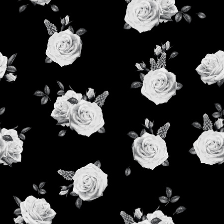 Seamless floral pattern with roses. Vector illustration. Фото со стока - 97357246