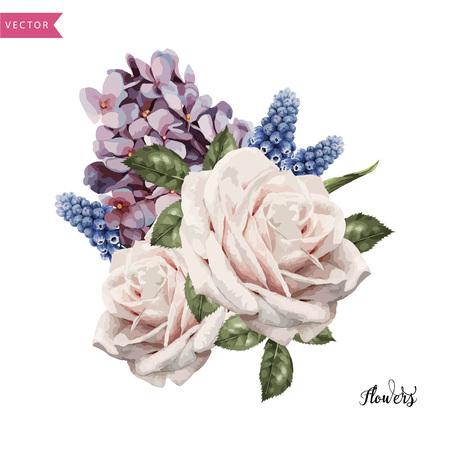 Bouquets of roses, watercolor, can be used as greeting card, invitation card for wedding, birthday and other holiday and summer background. Vector.