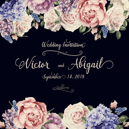 Greeting card with roses, watercolor, can be used as invitation card for wedding, birthday and other holiday and summer background. Vector illustration. Ilustração