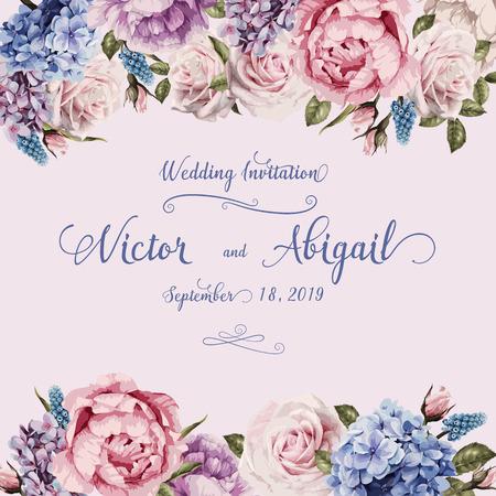 Tarjeta de felicitación con rosas, acuarela, se puede utilizar como tarjeta de invitación para bodas, cumpleaños y otras fiestas y verano. Ilustración vectorial