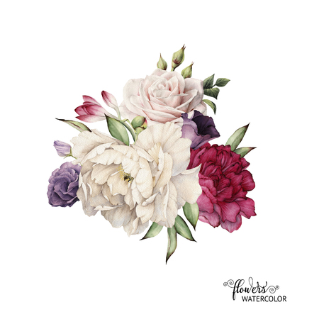 Bouquet of peonies, watercolor, can be used as greeting card, invitation card for wedding, birthday and other holiday and  summer background. Foto de archivo
