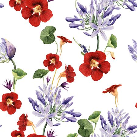 Seamless floral pattern with flowers, watercolor.  Zdjęcie Seryjne