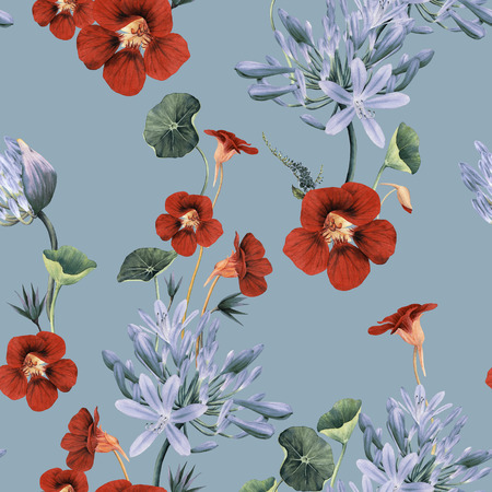 Seamless floral pattern with flowers, watercolor.  Archivio Fotografico