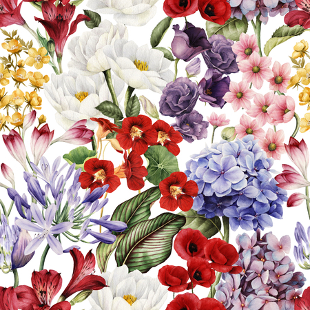 Seamless floral pattern with flowers, watercolor. Stock Photo