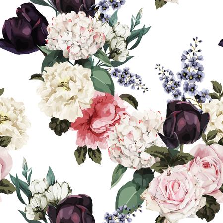 Seamless floral pattern with roses, watercolor. Vector illustration. Ilustração
