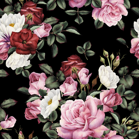 Seamless floral pattern with roses, watercolor. 版權商用圖片 - 124953211