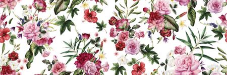 Motif floral sans couture avec fleurs, aquarelle. Banque d'images