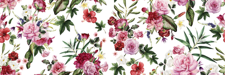 Seamless floral pattern with flowers, watercolor. Imagens