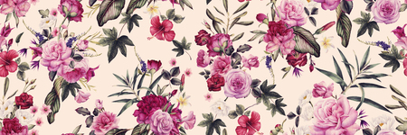Seamless floral pattern with flowers, watercolor. Banco de Imagens