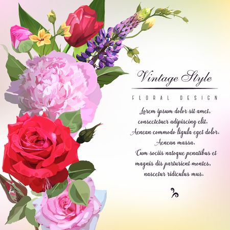 Greeting card with roses, can be used as invitation card for wedding, birthday and other holiday and  summer background. Vector illustration.