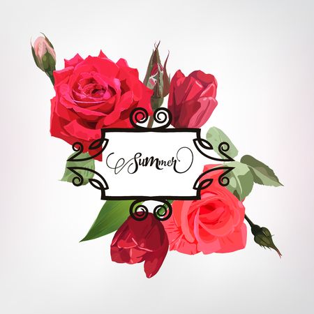 Greeting card with roses,  can be used as invitation card for wedding, birthday and other holiday and  summer background. Vector illustration. Ilustração