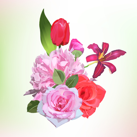 Bouquet of flowers, can be used as greeting card, invitation card for wedding, birthday and other holiday and  summer background. Vector.