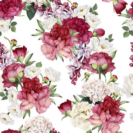 Seamless pattern floreale con fiori, acquerello. Illustrazione vettoriale