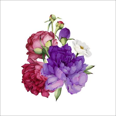 Bouquet di peonie, acquerello, può essere utilizzato come biglietto di auguri, biglietto d'invito per matrimoni, compleanni e altre vacanze e sfondo estivo. Vettore.