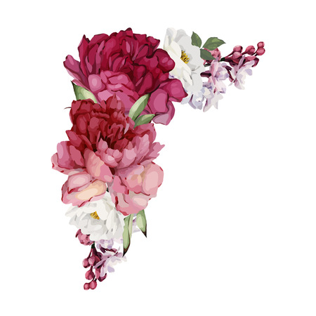 Bouquet of peonies, watercolor, can be used as greeting card, invitation card for wedding, birthday and other holiday and  summer background. Vector. Vectores