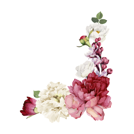 Bouquet of peonies, watercolor, can be used as greeting card, invitation card for wedding, birthday and other holiday and  summer background. Vector. Illustration
