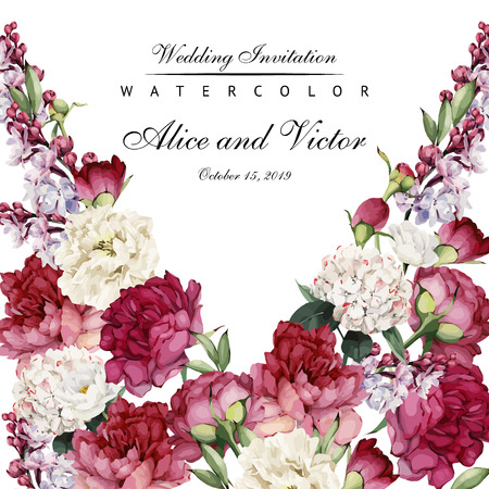 Greeting card with peonies, watercolor, can be used as invitation card for wedding, birthday and other holiday and  summer background. Vector illustration. Vectores