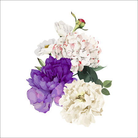 Bouquet of peonies, watercolor, can be used as greeting card, invitation card for wedding, birthday and other holiday and  summer background. Vector. Çizim