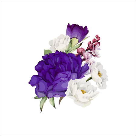 Bouquet of peonies, watercolor, can be used as greeting card, invitation card for wedding, birthday and other holiday and  summer background. Vector. Ilustracja