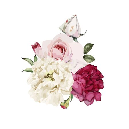Bouquet of peonies, watercolor, can be used as greeting card, invitation card for wedding, birthday and other holiday and  summer background. Vector illustration