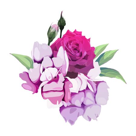 Bouquet of flowers, can be used as greeting card, invitation card for wedding, birthday and other holiday and  summer background. Vecyor