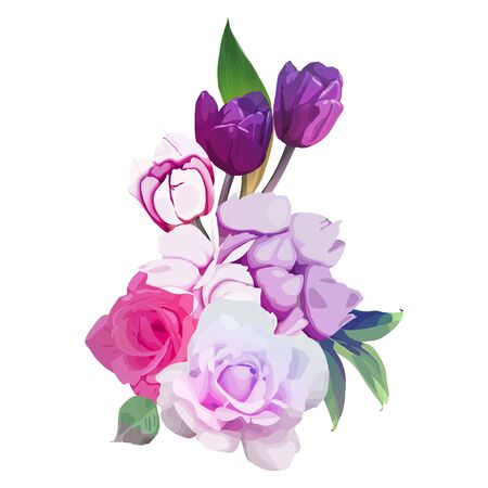 Bouquet of flowers, can be used as greeting card, invitation card for wedding, birthday and other holiday and  summer background. Vector Ilustração