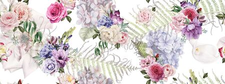 Seamless floral pattern with flowers, watercolor. Foto de archivo