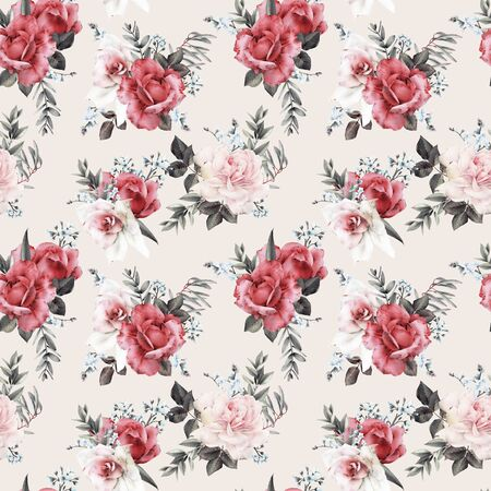 Seamless floral pattern with flowers on light background, watercolor. Template design for textiles, interior, clothes, wallpaper.