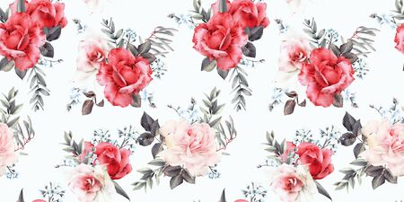Seamless floral pattern with flowers on light background, watercolor. Template design for textiles, interior, clothes, wallpaper. Botanical art Foto de archivo