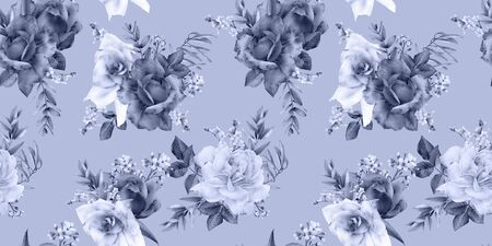 Seamless floral pattern with flowers on blue background, watercolor. Template design for textiles, interior, clothes, wallpaper. Botanical art
