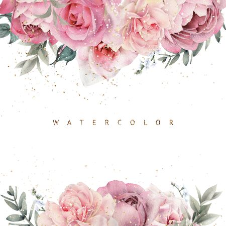 Greeting card with rose flowers, can be used as invitation card for wedding, birthday and other holiday and  summer background. Botanical art. Watercolor