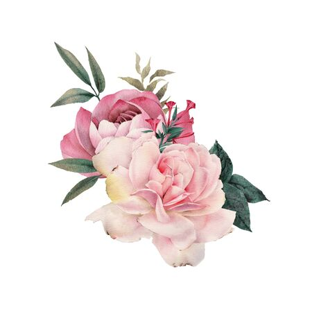 Roses. Bouquet of flowers, can be used as greeting card, invitation card for wedding, birthday and other holiday and  summer background