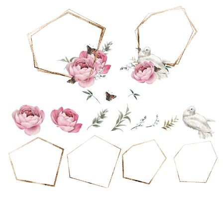 Golden frames. Roses. Flowers and leaves, can be used as greeting card, invitation card for wedding, birthday and other holiday and  summer background. Bouquet of flowers, watercolor illustration. Pigeons and butterflies