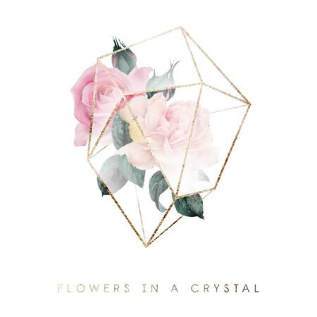 Bouquet in a crystal. Greeting card with flowers and crystal, can be used as invitation card for wedding, birthday and other holiday and  summer background. Watercolor.