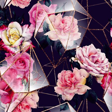Seamless floral pattern with flowers on dark background, watercolor. Template design for textiles, interior, clothes, wallpaper. The geometry of the crystal. Golden texture Foto de archivo