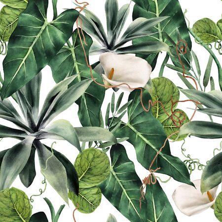 Seamless floral pattern with tropical piants, watercolor. Foto de archivo
