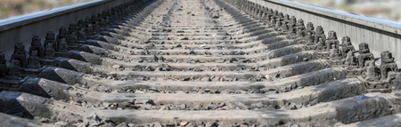 cross ties: Railway rails and cross ties closeup Stock Photo
