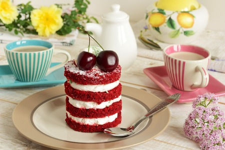 cake sweet dessert for the holiday home. red cake Stock Photo