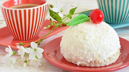 cake with coconut. cake sweet dessert for the holiday home Stock Photo