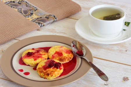 jams: Cottage cheese pancakes. Homemade traditional cakes from cottage cheese. Stock Photo