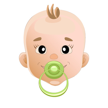 sucks: Baby sucks green pacifier. Baby smile