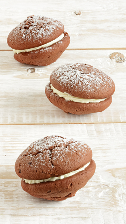 Cookies close-up. Chocolate biscuit cookies Stock Photo