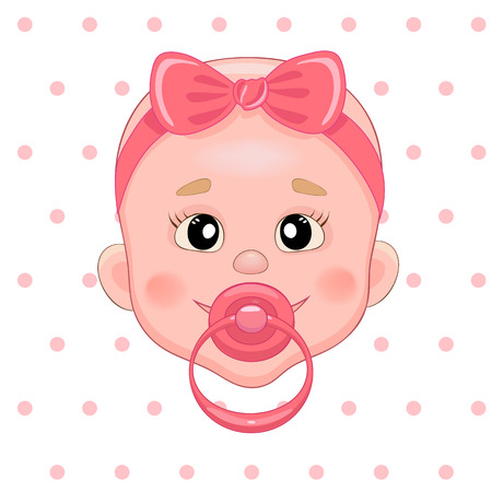 newborn baby: Baby with pacifier. Baby smile. Girl with bow