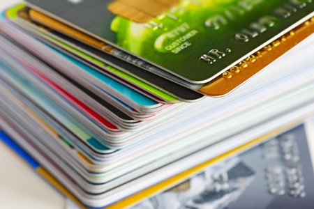 bankcard: Credit cards in shallow focus. Credit cards for payment products with your business