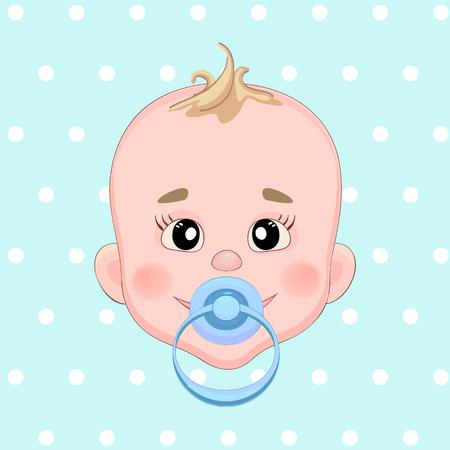 sucks: Baby sucks green pacifier. Baby smile. Boy