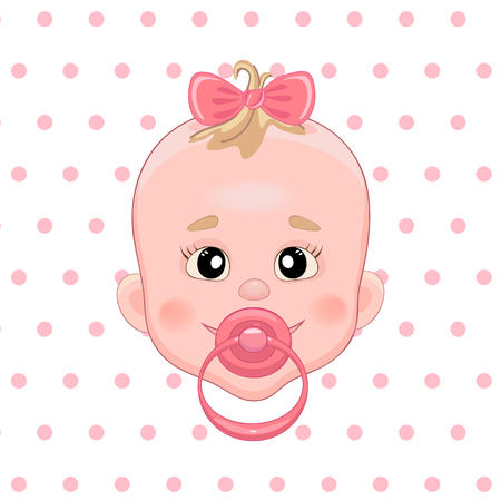 baby girl: Baby with pacifier. Baby smile. Girl with bow