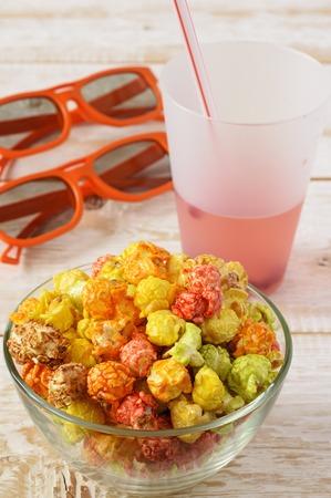 poppers: Popcorn multicolored. Cinema popcorn Stock Photo