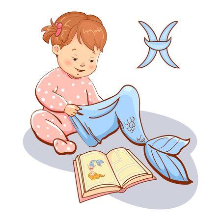 Horoscope. Zodiac sign Pisces. Girl wears mermaid costume