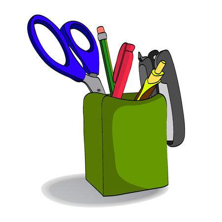 school kit: Organizer with pencils, scissors, pen, stapler. Holder.