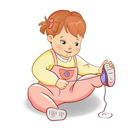 Children shoes. Girl wears shoes. Baby development